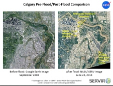 Before and after Calgary flood photos