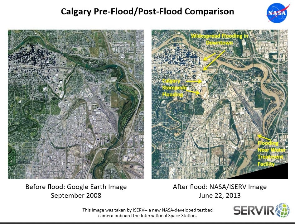This image shows Calgary before and after the devastating floods of June 22 and following. The venue for the famous annual rodeo and exhibition known as the Calgary Stampede is annotated in the image.