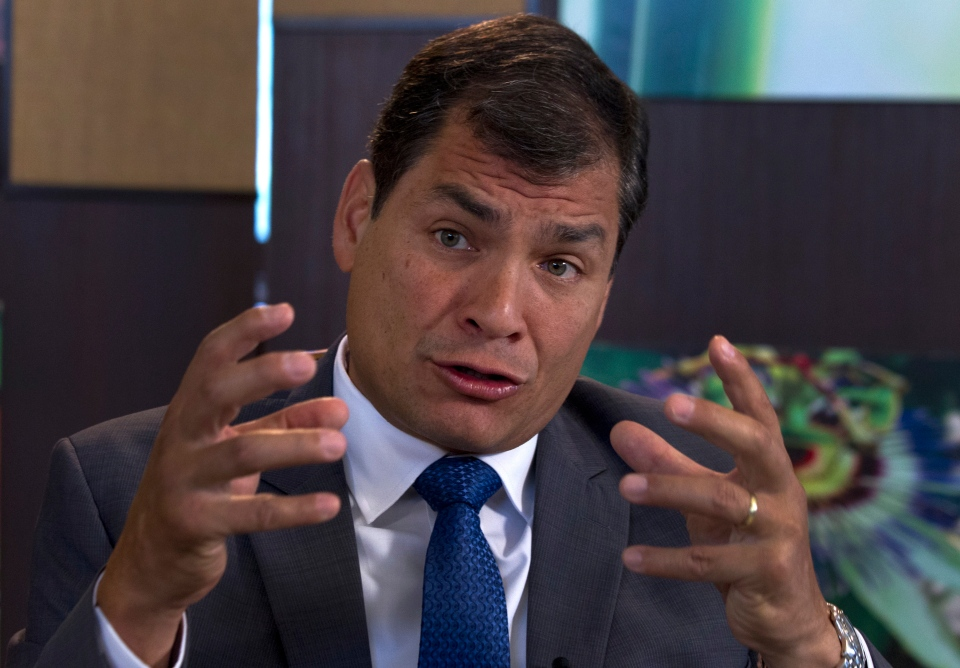 Ecuador's President Rafael Correa, speaks during a interview with The Associated Press in Portoviejo, Ecuador, Sunday, June 30, 2013. (AP / Martin Mejia)