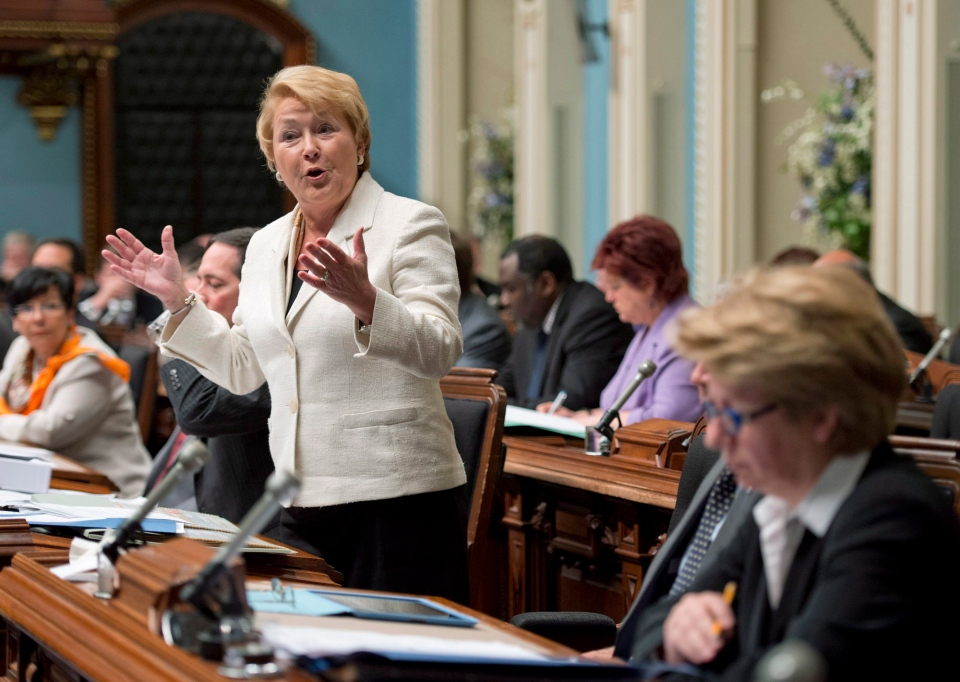 Quebec Premier Pauline Marois responds to Opposition questions over a special law forcing an end to the construction strike and to impose a collective agreement by decree at the legislature in Quebec City, Sunday, June 30, 2013. (Jacques Boissinot / THE CANADIAN PRESS)