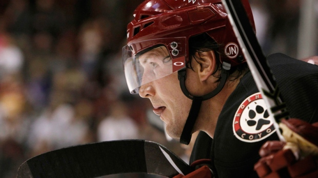 Phoenix Coyotes' Shane Doan watches a shootout during an NHL hockey game against the Dallas Stars in Glendale, Ariz.,  March 29, 2011. (AP / Ross D. Franklin)