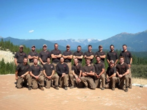 Unidentified members of the Granite Mountain Interagency Hotshot Crew from Prescott, Ariz., pose together in this undated photo provided by the City of Prescott. Some of the men in this photograph were among the 19 firefighters killed while battling an out-of-control wildfire near Yarnell, Ariz., on Sunday, June 30, 2013, according to Prescott Fire Chief Dan Fraijo. It was the nation's biggest loss of firefighters in a wildfire in 80 years. (City of Prescott)