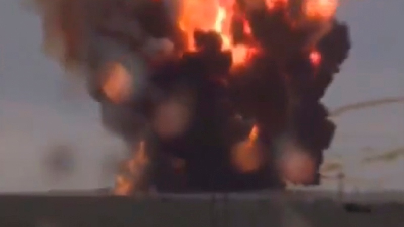 In this frame grab made from TV footage distributed by Russian Vesti 24 channel Russian booster rocket carrying three satellites crashes at a Russia-leased cosmodrome in Kazakhstan on Tuesday July 2, 2013 shortly after the launch. (AP / Vesti 24 via APTN)
