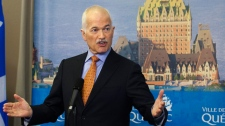 NDP Leader Jack Layton responds to reporters questions at a news conference in Quebec City, Monday, April 18, 2011. (Jacques Boissinot / THE CANADIAN PRESS)