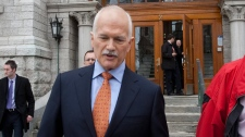NDP Leader Jack Layton enters a rally in Val d'Or, Que., Monday, April 18, 2011. (Jacques Boissinot / THE CANADIAN PRESS)