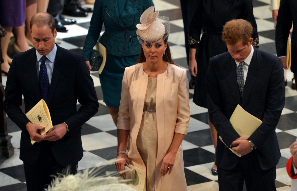 The Duke and Duchess of Cambridge and Prince Harry, right, leave Westminster Abbey, London, following a service to celebrate the 60th anniversary of the coronation of Britain's Queen Elizabeth II, Tuesday, June 4, 2013. (AP / Anthony Devlin)