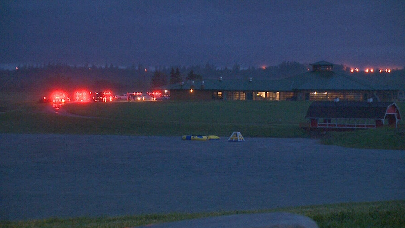Emergency crews were on the scene Tuesday, July 2, after a serious storm struck the Our Lady of Eternal Peace Ranch in NE Edmonton, injuring a number of children camping there.