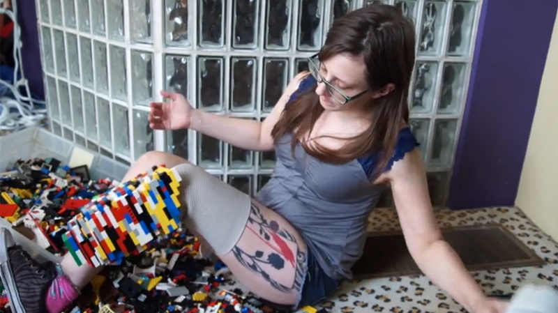 A U.S. woman has become an Internet star after making her own prosthetic leg out of colourful Lego bricks and posting the video to YouTube. (Photo courtesy YouTube)