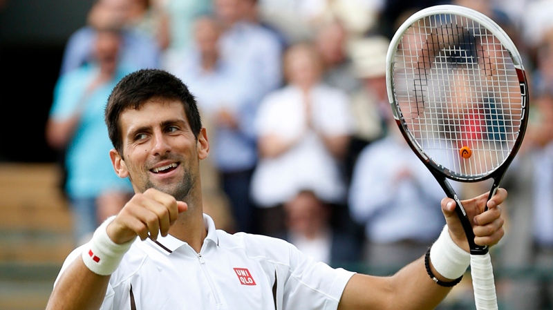 Novak Djokovic of Serbia reacts after beating Tomas Berdych of the Czech Republic in a Men's singles quarterfinal match at the All England Lawn Tennis Championships in Wimbledon, London, Wednesday, July 3, 2013.(AP / Sang Tan)