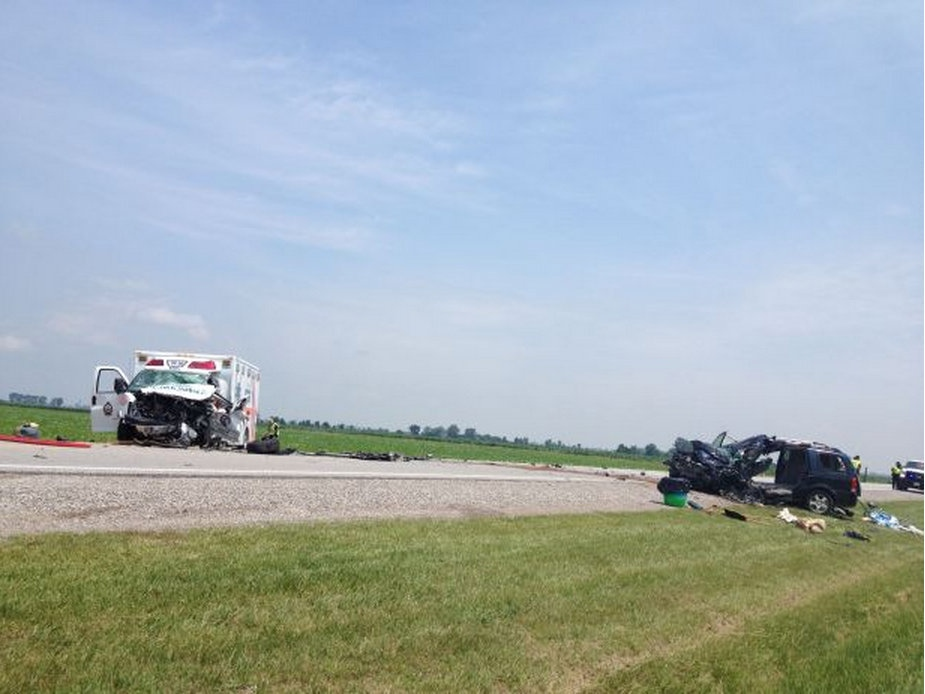 An ambulance and minivan collided on Queens Line in Chatham, Ont., on Wednesday, July 3, 2013. (Gina Chung / CTV Windsor)