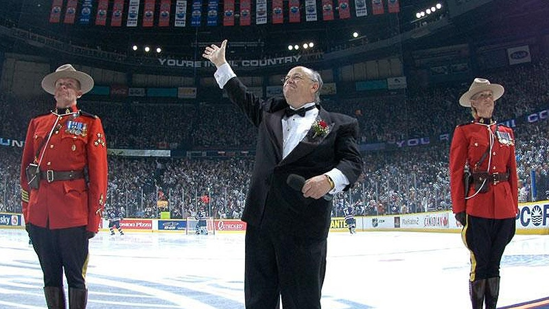 Paul Lorieau performed O Canada at Oilers games for more than 30 years. Courtesy: Edmonton Oilers Hockey Club