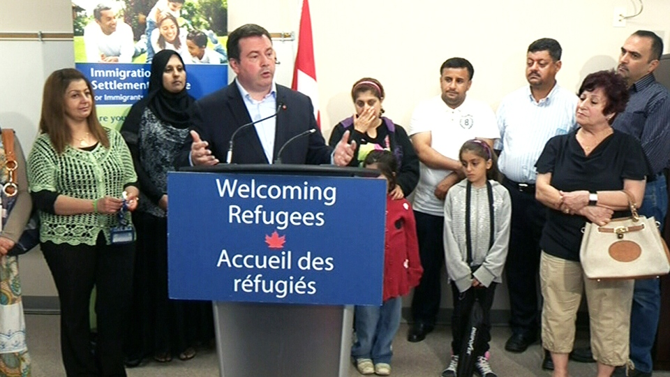 Minister of Immigration Jason Kenney discusses Canada's plan to resettle Syrian refugees, in Edmonton, Wednesday, July 3, 2013.