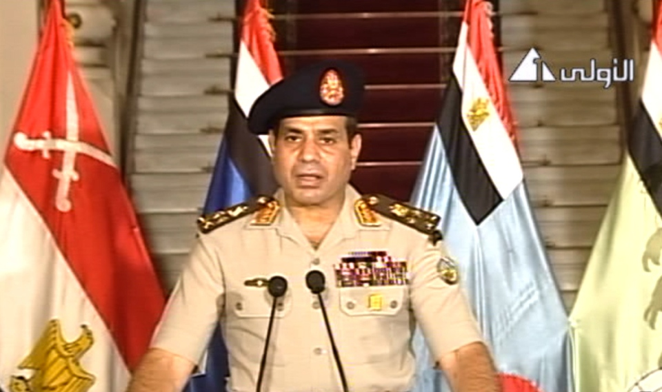 This image made from video shows Lt. Gen. Abdel-Fattah el-Sissi addressing the nation on Egyptian State Television, Wednesday, July 3, 2013. (AP / Egyptian State Television)