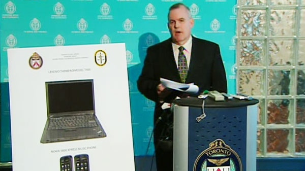 Toronto police hold a press conference updating the media on the death of a 23-year-old York University student on Tuesday, April 19, 2011.