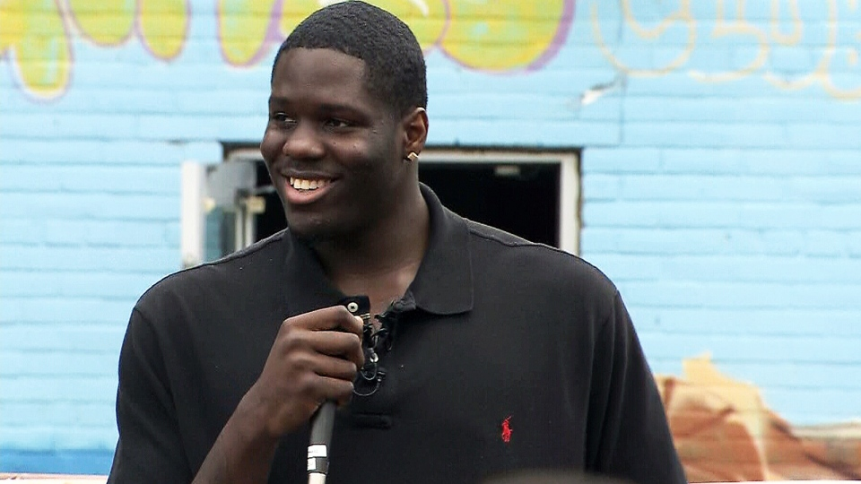 Cleveland Cavaliers first round draft pick Anthony Bennett speaks at the Jane and Finch Boys and Girls Club in Toronto, Thursday, July 4, 2013.