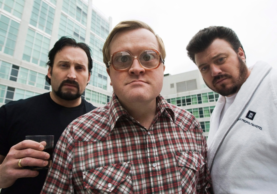 The Trailer Park Boys John Paul Tremblay, as Julian, left, Mike Smith, as Bubbles, centre, and Robb Wells, as Ricky, right, pose for a photograph in Toronto on Nov. 27, 2008.  (The Canadian Press/Nathan Denette)