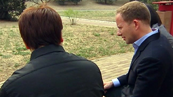 The boyfriend of Qian Liu, left, speaks exclusively to CTV's Beijing Bureau Chief Ben O'Hara-Byrne on condition of anonymity, Tuesday, April 19, 2011.