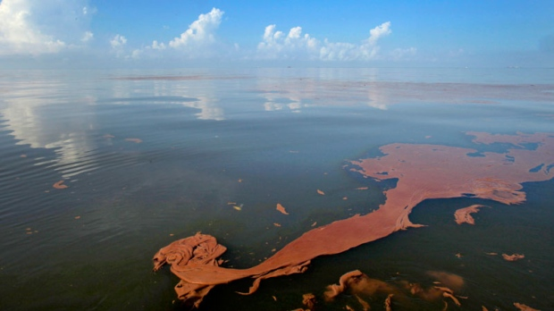 Oil from the BP Deepwater Horizon spill floats on the water with clouds reflected in the sheen on Barataria Bay off the coast of Louisiana, Monday, June, 7, 2010. (AP / Charlie Riedel)