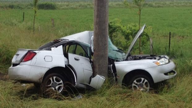 Single vehicle crash on Sawmill road