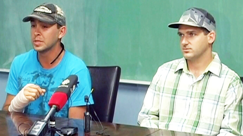 Grizzly attack survivors Brian Braconnier and Keith Farkas  share their story. July 5, 2013. (CTV)
