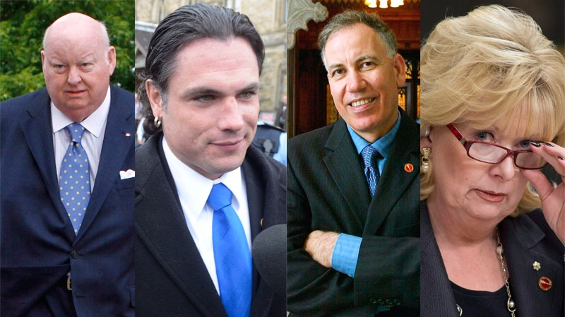 Senators Mike Duffy, Patrick Brazeau, Mac Harb, and Pamela Wallin appear in this composite image. (Fred Chartrand, Adrian Wyld / THE CANADIAN PRESS)