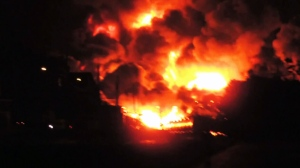Quebec train derailment sparks major fire