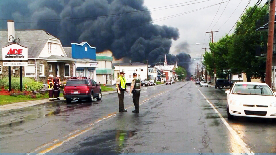 A train derailment sparked explosions and a massive fire in the eastern Quebec town of Lac-Megantic.