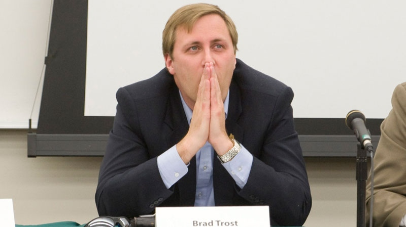 Brad Trost, Conservative party candidate for Saskatoon-Humboldt, pauses at a candidate's forum at the University of Saskatchewan in Saskatoon, on Thursday, April 21, 2011. (Liam Richards / THE CANADIAN PRESS)
