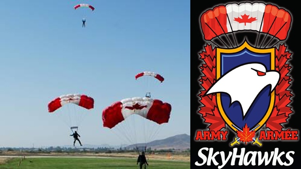 SkyHawks Military Parachute Team photo and logo (courtesy: The SkyHawks)