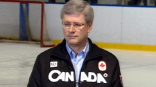 Prime Minister Stephen Harper comments on the abortion issue during a Conservative campaign stop in Conception Bay South, N.L., Thursday, April 21, 2011.