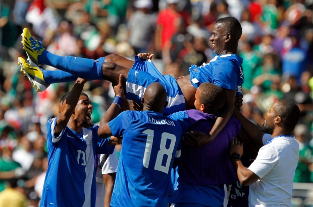 Martinique players celebrate, CONCACAF Gold Cup