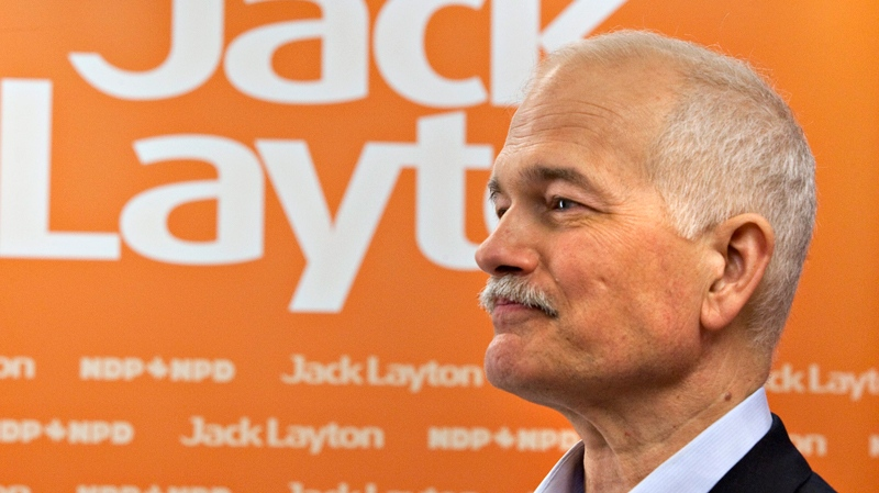 NDP Leader Jack Layton listens to a reporter's question at a news conference in Thunder Bay, Ont., Wednesday, April 20, 2011. (Jacques Boissinot / THE CANADIAN PRESS)