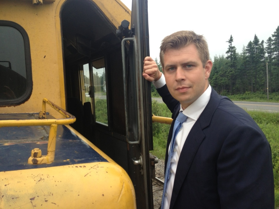 CTV Reporter Kevin Gallagher enters the cab of an unlocked and apparently abandoned train near Nantes, Quebec, on July 8, 2013 (Kevin Gallagher/CTV Montreal)