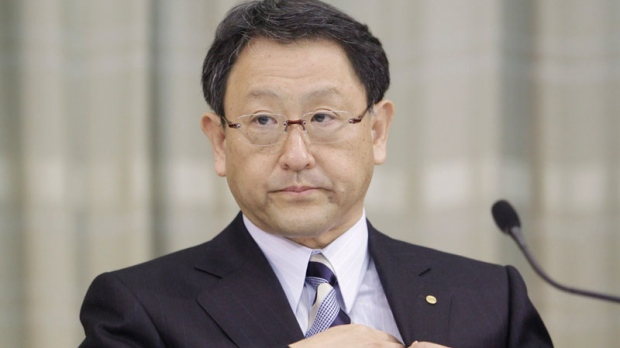 63b25faa638f Toyota Motor Corp. President Akio Toyoda attends a press conference in  Tokyo Friday