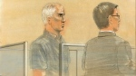 Benjamin Levin, 61, of Toronto, faces five charges, including two counts of distributing child pornography and one count of making child pornography, during a court appearance in Toronto on Monday, July 8, 2013. (John Mantha  / CTV News)