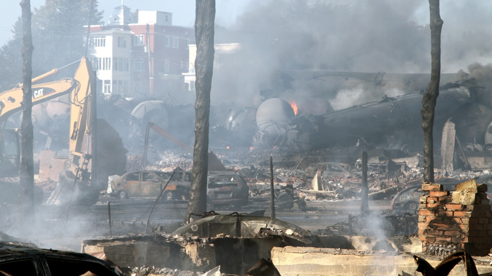 Debris lies over the devastated downtown of the Quebec town of Lac-Megantic following the train explosion. (Surete du Quebec)