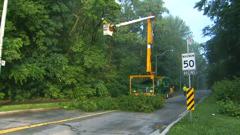 Crews clear away branches that damaged power lines on Rosedale Valley Rd. in Toronto on Tuesday, July 9, 2013.
