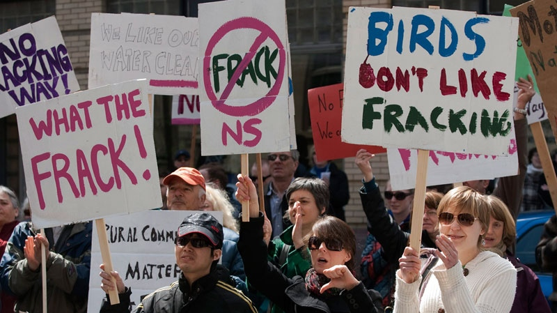 Protesters gather outside the Nova Scotia legislature in Halifax to show their opposition to the use of hydraulic fracturing or fracking, on Friday, April 22, 2011. (Andrew Vaughan / THE CANADIAN PRESS)