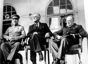 From left: Soviet Union Premier Josef Stalin, U.S. President Franklin D. Roosevelt, centre, and British Prime Minister Winston Churchill during the Tehran Conference in Tehran, Iran, on Nov. 28, 1943. (AP)