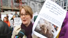 """Demonstrator Emma Williams said the cruel images """"make me want to cry just thinking about it."""" (April 23, 2011)"""