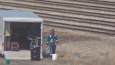 A worker is on the scene of a toxic fuel spill that one whistleblower says was 'ignored' by CP Rail management.