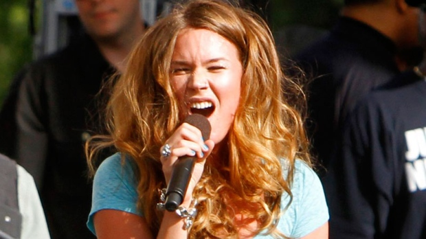 Vocalist Joss Stone performs at The Climate Rally, an Earth Day concert, on the National Mall in Washington, on Sunday, April 25, 2010. (AP / Jacquelyn Martin)