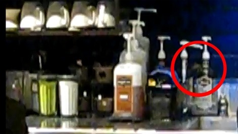 A new YouTube video shows what appears to be a small rat feeding on Starbucks syrup pumps. April 23, 2011. (YouTube)