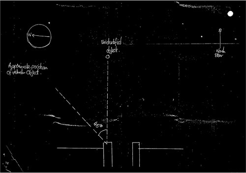 In this image made available by Britain's National Archives Wednesday May 14, 2008, a sketch made by a police officer after a sighting of an unidentified Flying Object in England in 1984 is seen.   (AP Photo/National Archives, HO)