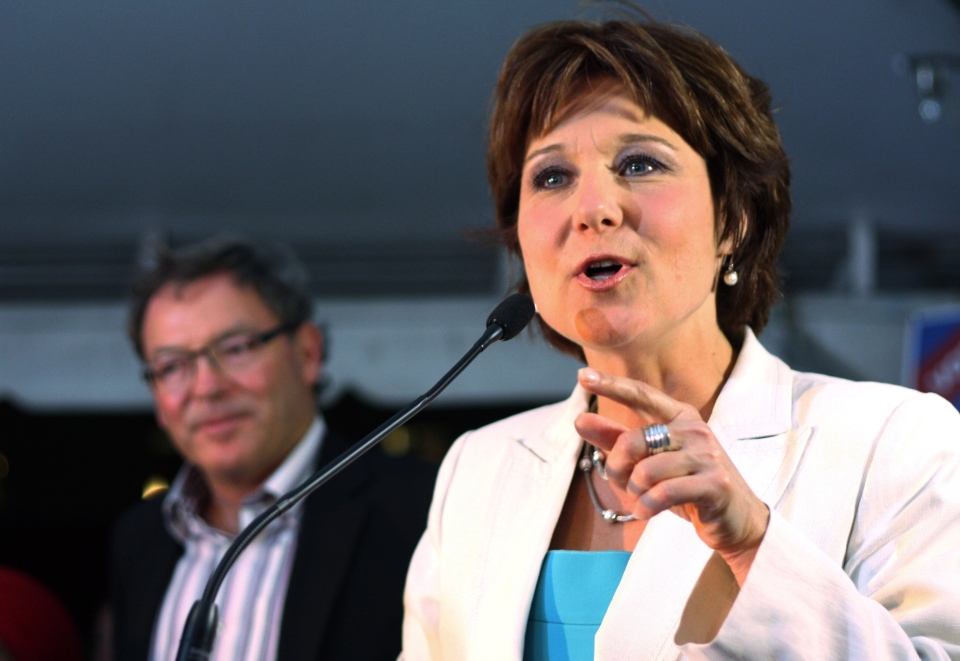 British Columbia Premier Christy Clark delivers her victory speech to supporters as former riding MLA Ben Stewart looks on after winning a byelection in Kelowna, B.C., on Wednesday, July 10, 2013. (Chris Stanford / THE CANADIAN PRESS)