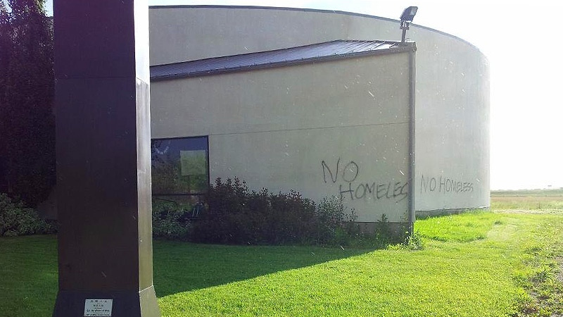 Holy Trinity Riverbend Anglican Church, on 156 St. near South Terwillegar Blvd., has been vandalized. Courtesy: Susan McGee