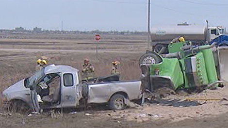 The collision was reported on April 21 on the South Perimeter at Brady Road.