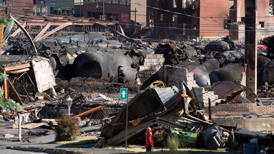 The downtown core lies in ruins Thursday, July 11, 2013 in Lac-Megantic, Que. (Ryan Remiorz / THE CANADIAN PRESS)