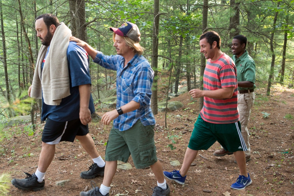 Kevin James, David Spade, Adam Sandler and Chris Rock in Columbia Pictures' 'Grown Ups 2'