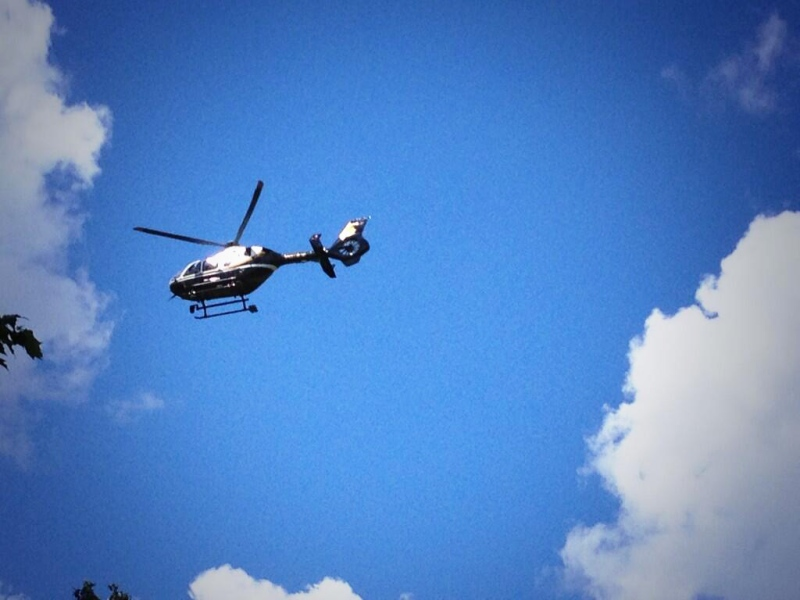 An OPP helicopter flies over the Elora Gorge Conservation Area on Friday, July 12, 2013. (Nadia Matos / CTV Kitchener)